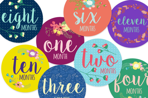 Baby milestone stickers, floral, colourful, bright, Australian made, colourful