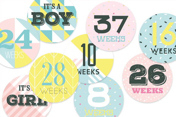 Pregnancy belly milestone stickers, patterns, gender neutral, circle, colourful, geometric