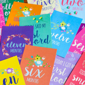 Baby Milestone cards, colourful, floral, bright, happy
